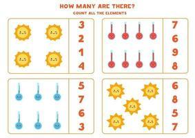 juego de conteo con lindos elementos meteorológicos. hoja de trabajo de matemáticas. vector