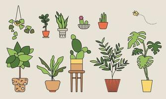 Potted plant collection. outline simple vector illustration.