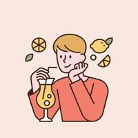 un niño está bebiendo limonada. Ilustración de vector mínimo de estilo de diseño plano.