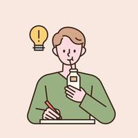 un hombre está estudiando y bebiendo leche con una pajita. Ilustración de vector mínimo de estilo de diseño plano.