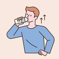 un hombre bebe agua de una botella de agua. Ilustración de vector mínimo de estilo de diseño plano.