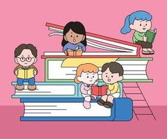 There are large books piled up and cute characters are sitting and reading books. hand drawn style vector design illustrations.