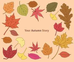A collection of autumn leaves colored red and yellow. hand drawn style vector design illustrations.
