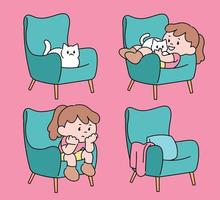 Girl with a cat on the sofa. hand drawn style vector design illustrations.