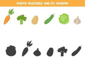 Matching game for kids. Vegetables and their shadows. vector