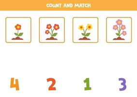 Math worksheet for kids. Counting game with cute cartoon colorful flowers. vector