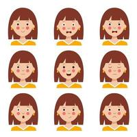 Set of various facial expressions of cute cartoon brown haired girl. vector