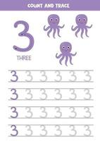 Tracing the number 3. Cartoon purple octopuses. vector