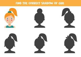 Logical game for kids. Find the right shadow of cute girl. vector