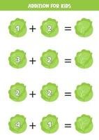 Addition with cartoon cabbage. Math game for kids. vector