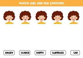 Match girls face expression and the written emotions. vector