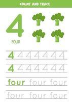 hoja de trabajo para aprender números y letras con brócoli de dibujos animados. número cuatro. vector