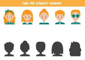 Find the right shadow of cute cartoon people. Educational game. vector