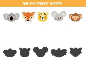 Find the right shadow of cute cartoon animals. vector