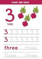 Tracing the word three and the number 3. Cartoon beets images. vector