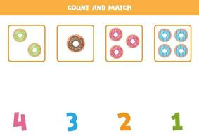 Math worksheet for kids. Counting game with cute cartoon donuts. vector