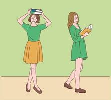 Two women are walking with books on their heads or open. hand drawn style vector design illustrations.