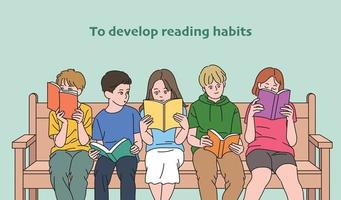 Cute children are reading books together sitting on a bench. hand drawn style vector design illustrations.