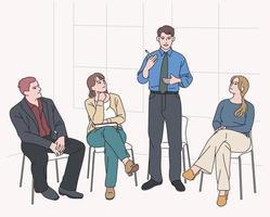 la gente está sentada y compartiendo opiniones. ilustraciones de diseño de vectores de estilo dibujado a mano.