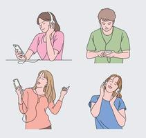 People listening to music. hand drawn style vector design illustrations.