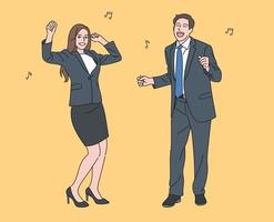 Male and female business people in suits are dancing and having fun. hand drawn style vector design illustrations.