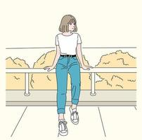 A girl is sitting on the railing. hand drawn style vector design illustrations.