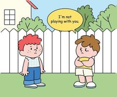 Two boys are standing in the yard and having a conversation. They don't look friendly. hand drawn style vector design illustrations.