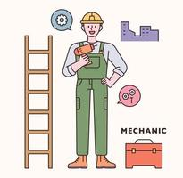 Engineer character and icon set. flat design style minimal vector illustration.