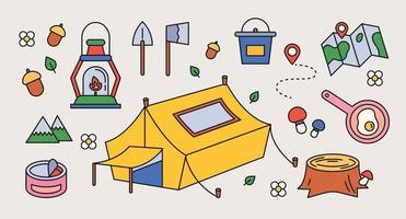 Collection of camping equipment. outline simple vector illustration.