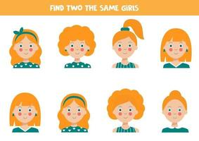Find two identical girls Educational worksheet for kids. vector