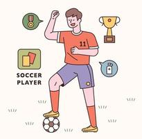 Soccer player character and icon set. flat design style minimal vector illustration.