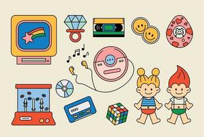 Toys and objects from the 80s. outline simple vector illustration.