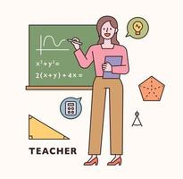 Teacher character and icon set. flat design style minimal vector illustration.