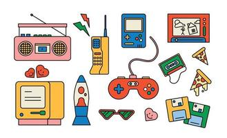 Collection of items from the 80s. outline simple vector illustration.