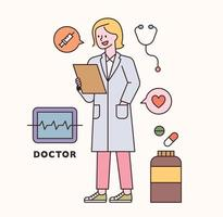 Doctor character and icon set. flat design style minimal vector illustration.