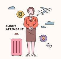Stewardess character and icon set. flat design style minimal vector illustration.