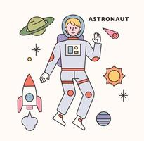 Spaceman character and icon set. flat design style minimal vector illustration.