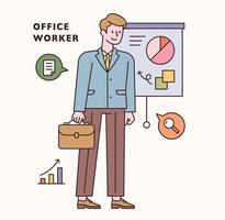 Office worker character and icon set. flat design style minimal vector illustration.