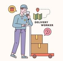 Delivery worker character and icon set. flat design style minimal vector illustration.