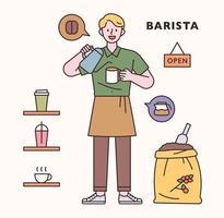 Baristar character and icon set. flat design style minimal vector illustration.