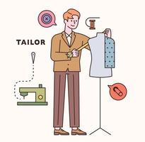 Tailor character and icon set. flat design style minimal vector illustration.