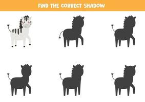 Find the right shadow of cartoon zebra. Logical game for children. vector