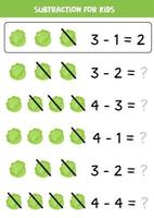 Subtraction for kids with cute cartoon cabbages. vector