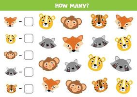 Counting game for kids. Cute animals face. Math worksheet. vector