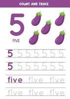 práctica de escritura a mano para niños. Número cinco. berenjenas de dibujos animados. vector