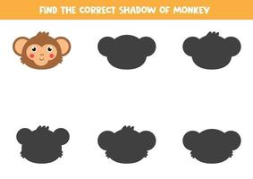 Find the right shadow of monkey head. Logical game for kids. vector