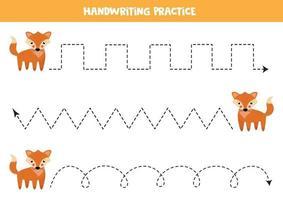 Tracing lines with cute cartoon fox. Handwriting practice. vector