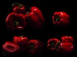 Paprika and red bell peppers in dark light photo