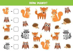 Counting game for kids. Cute woodland animals. vector