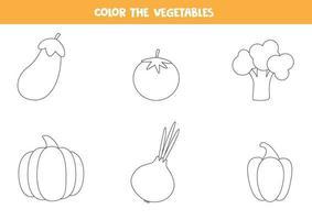 dibujos para colorear con verduras para niños en edad preescolar, vector